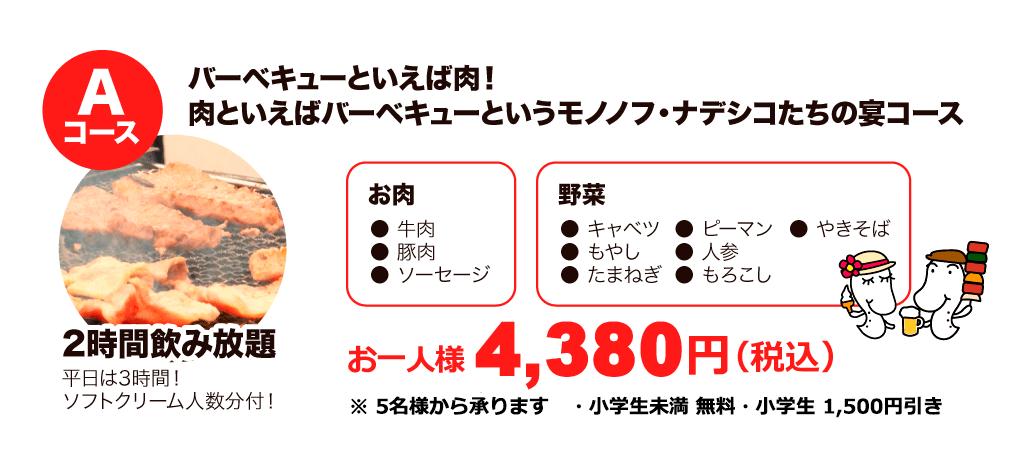 Aコース お一人様 4,380円(税込)
